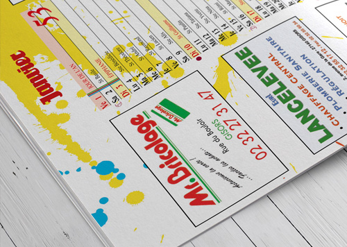 Offset printing of calendars, stapled magazine format